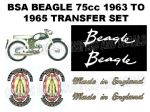 BSA Beagle V1 75cc 1963 to 1965 Transfer Decal Set